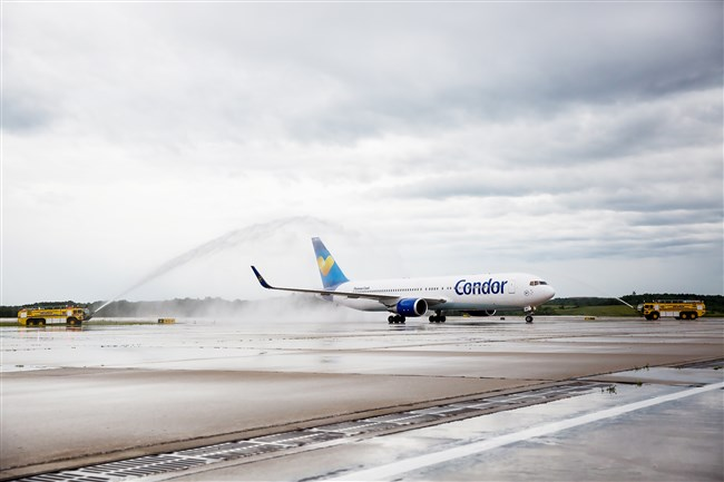 The first Condor Airlines flight to Pittsburgh International Airport receives a water salute  in June. The German airline will be providing nonstop service twice a week to Frankfurt.