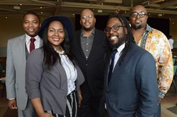 From left Benjamin Evans III, LaTrenda Sherrill, Harry Johnson, Knowledge Build Hudson and Lee Davis at the BMe Community Genius Awards.