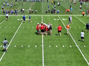 Freedom High School and other teams work out at Pitt during a 7-on-7 camp in June.