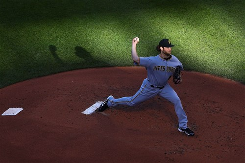 Pirates starter Gerrit Cole delivers in the first inning against the St. Louis Cardinals Saturday at Busch Stadium.