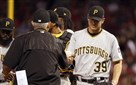 Pirates starting pitcher Chad Kuhl is removed by manager Clint Hurdle in the sixth inning Sunday in St. Louis.