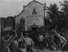 Homestead Steel Strike.  The Mob Assailing the Pinkerton Men on Their Way ot the Temporary Prison (drawn by Charles Mente).