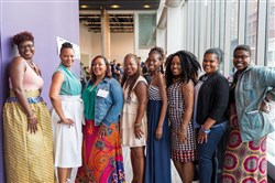 Attendees, award winners, and performers of the event stop for a group photo during the Changemarkers gala at the August Wilson Center.  From left, Shallegra Moye, Kimberly Turner, Nikkia Ingram, Nichole Sims, Nikia Scott, Lachelle Binion, Tyra Good and Jacquea Mae.