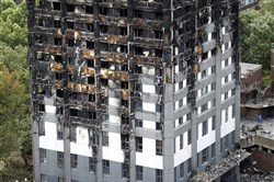 The burnt Grenfell Tower apartment building in London on Friday.