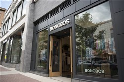 Bonobos, a new men's clothing store in East Liberty. Store guides lead customers through their collection, help them find the right styles and fit, and have the clothes sent to the customer's home or office.