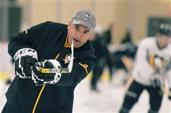 Kevin Stevens takes a shot during the first day of Rookie Camp at the UPMC Lemieux Sports Complex in Cranberry on Wednesday.