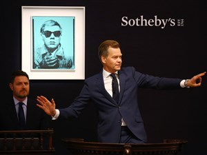 "during the Contemporary Art Evening Auction at Sotheby's on June 28, 2017 in London, England. 28 June 2017: Moments ago at Sotheby's in London, a work from Andy Warhol's very first series of self-portraits just sold for £6 million / $7.7 million. The work appeared at auction for the first time this evening, 30 years after the artist's death in 1987. ""In the age of Instagram, Warhol's fabled prediction that 'in the future, everyone will be world-famous for 15 minutes' has never felt more prophetic, and the artist's first self-portraits - created using a strip of photographs taken in a New York dime store photo-booth - have never felt more relevant to contemporary culture. This is a work of immense art historical importance that marks the watershed moment when Warhol joined the canon of the greatest self-portraitists."" - James Sevier, Senior Specialist, Contemporary Art"