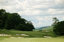 The ominous, undulating first hole on the Old Course at the Omni Bedford Springs Resort is rich with challenge and charm. Forget the scorecard and look around.