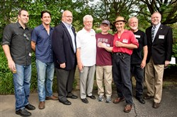 From left, Patrick Jordan, David Conrad, August R. Carlino, John Haer, Peter Reder, Mark Rylance, Charles McCollester and Andy Masich.