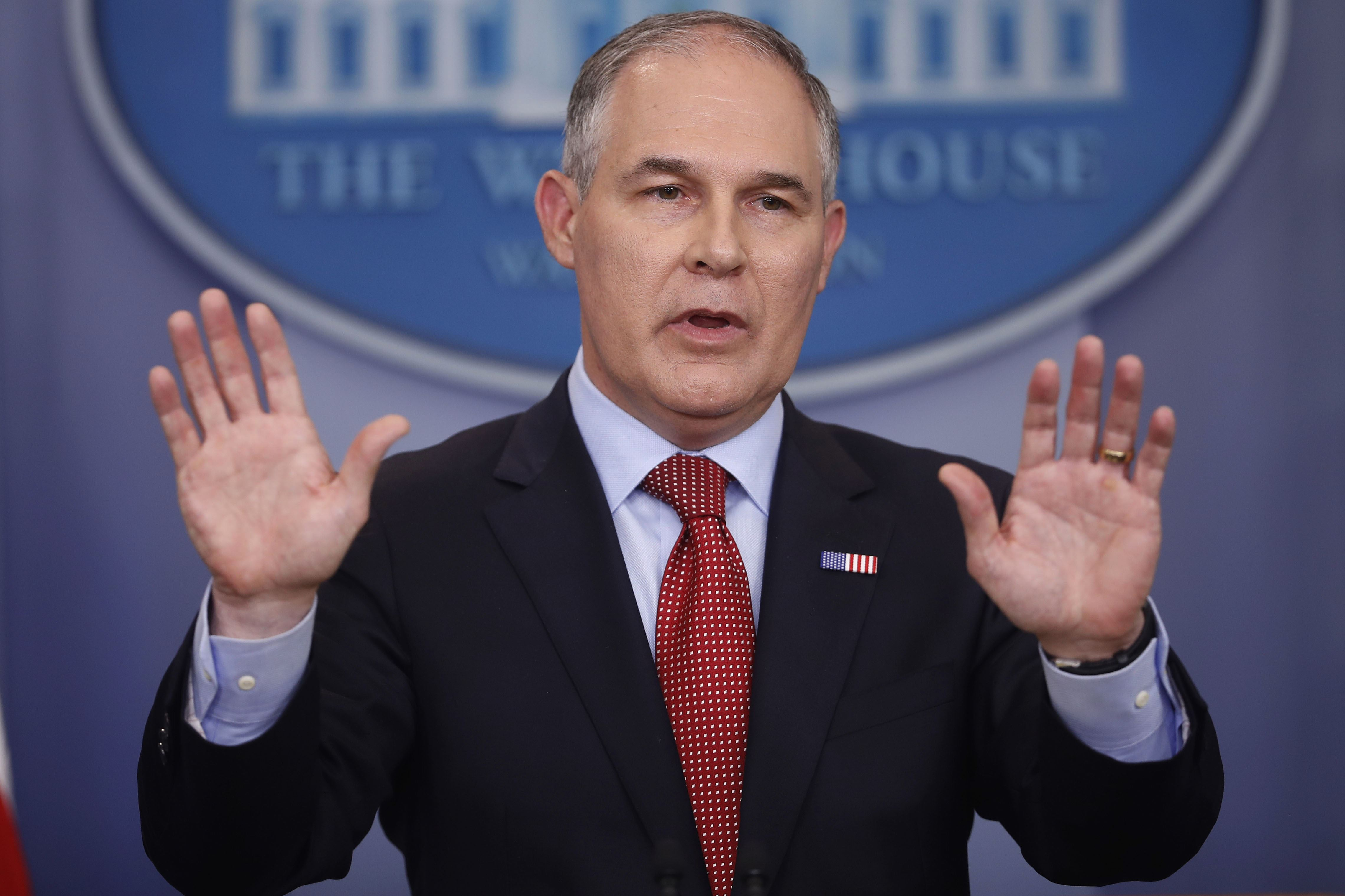 EPA Methane In this June 2 file photo, EPA Administrator Scott Pruitt speaks to the media during the daily briefing in the Brady Press Briefing Room of the White House in Washington, D.C.