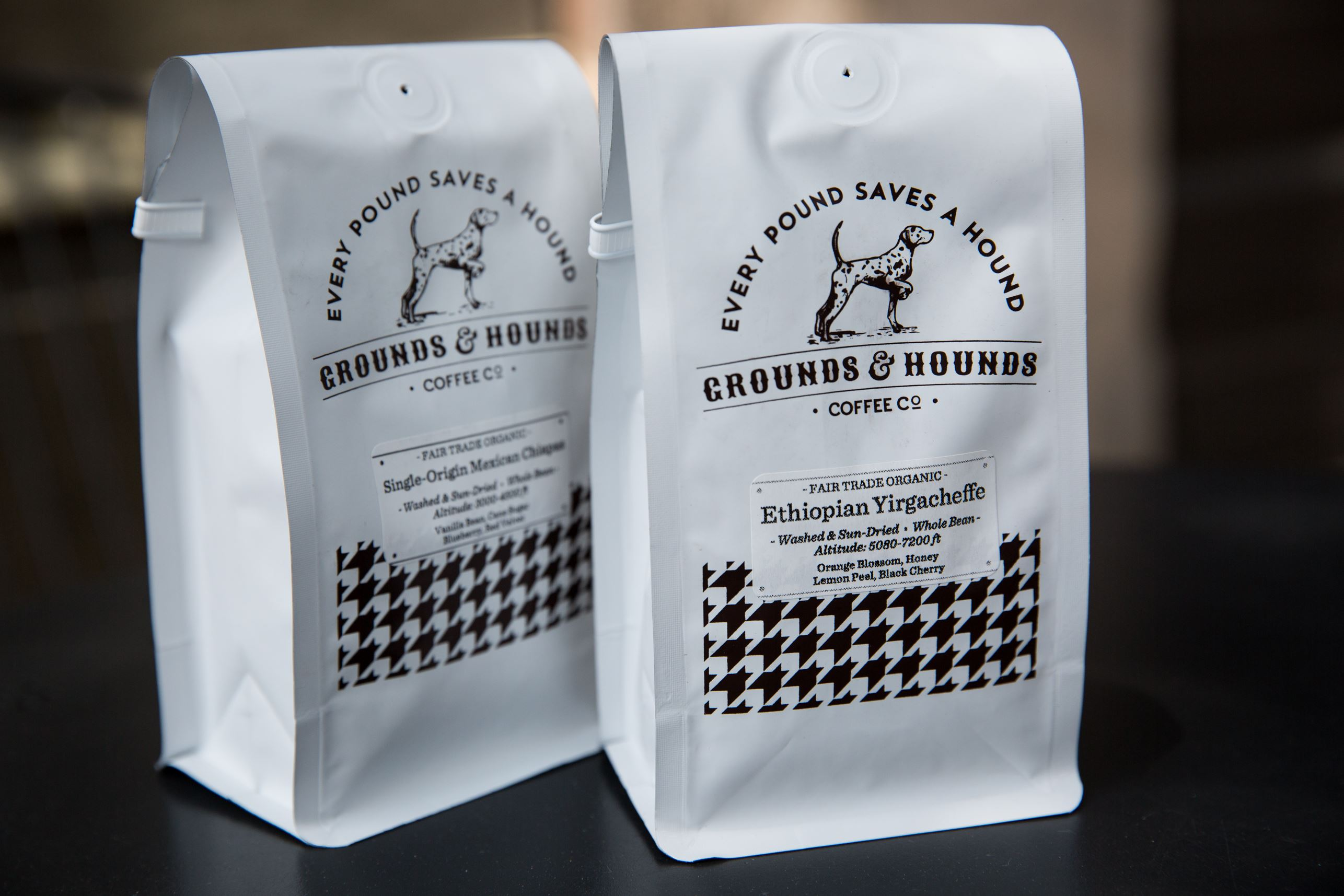 20170629adGrounds-Hounds-03 Molly graces the packaging of the coffee from Grounds & Hounds. The company, owned by Jordan Karcher, sells fair trade and organic coffee beans, and 20 percent of the proceeds go to supporting animal rescue organizations around the country.
