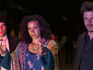 "From left, Yul Vázquez as Rev. Emilio Sheehan, Parisa Fitz-Henley as Fiji and Francois Arnaud as Manfredin ""Midnight, Texas."" The show airs on NBC."