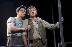 "Joey Barriero as Jack and Daniel Quadrino as Crutchie  in Pittsburgh CLO's new production of Disney's ""Newsies."""