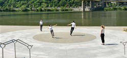 Dancers with The Blanket rehearse works by Lucinda Childs at the Monongahela Wharf Amphitheater in Point State Park.