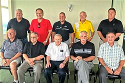 Some of the greatest coaches in WPIAL football history got together Monday for lunch at Grand View Golf Course in Braddock. Pictured are: Back row, left to right, Tom Nola, Don Yannessa, Bob Palko, Joe Hamilton, Bill Cherpak; Front row, left to right, Jim Render, Joe Mucci, Pat Tarquinio, Mike Zmijanac, Jack McCurry.