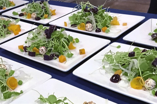 Plates are ready to be served at First Colony Winery in Charlottesville, Va.
