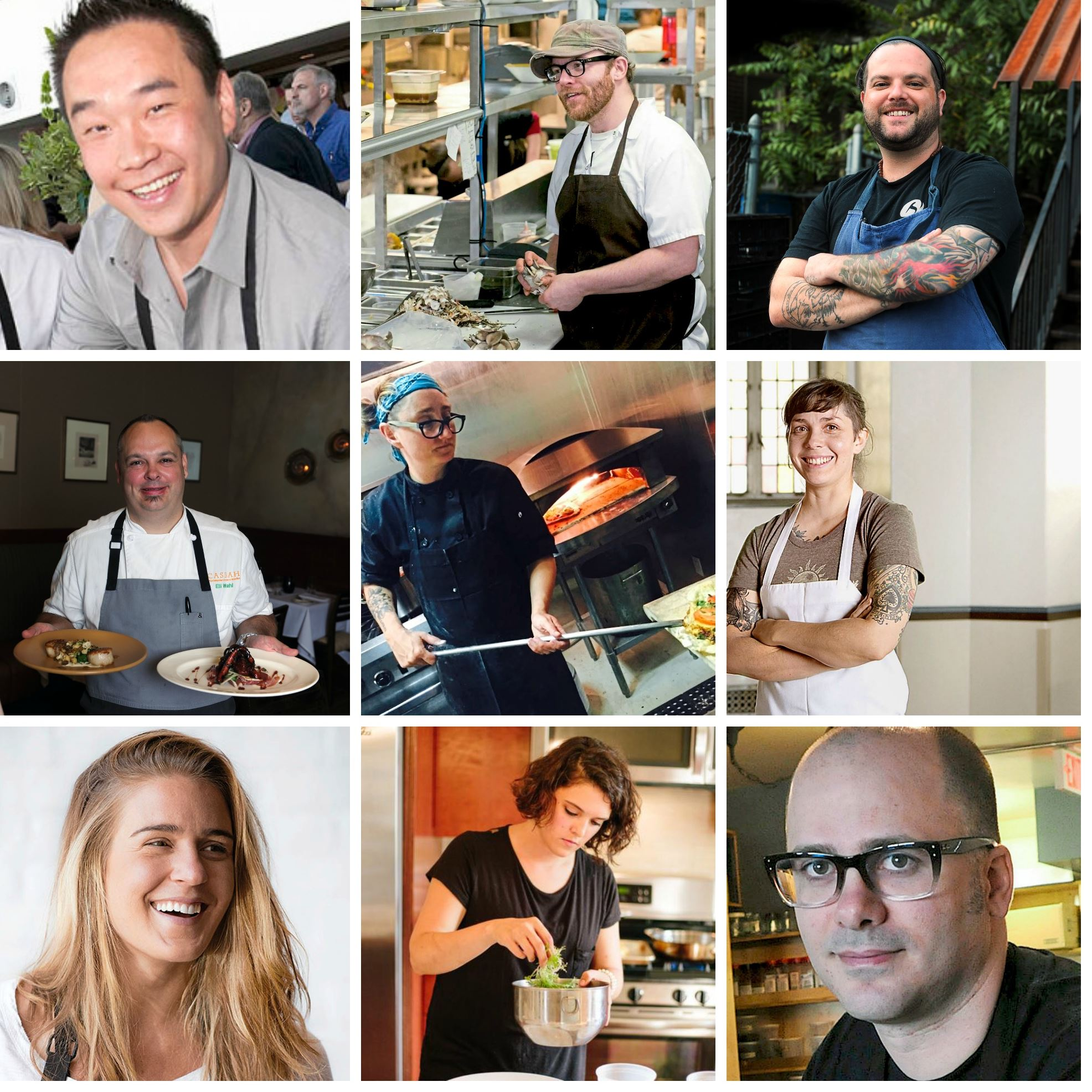chef 2.jpg Left to right, top to bottom: Brian Pekarcik, Spoon; Curtis Gamble, Station; Dustin Gardner, Casbah Eli Wahl, Eleven; Kate Romane, Black Radish Kitchen; Bethany Zozula, The Whitfield Jessica Lewis, Or, The Whale, Merchant Oyster Co.; Kendyl Ryan, Duncan St Dinners, Justin Severino, Cure ad Morcilla