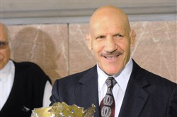 "Bruno Sammartino shows off the original World Wide Wrestling Federation (WWWF) championship during a ceremony at the Allegheny County Courthouse. Council members declared May 17,l 2013, ""Bruno Sammartino Day."""
