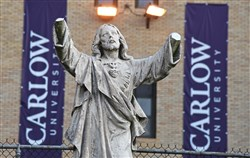 A statue of Jesus was vandalized on the campus of Carlow University, at the corner of Fifth Avenue and Robinson Street in Oakland.