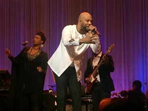 "Common took center stage at Heinz Hall during ""A Night of Symphonic Hip-Hop"" at Heinz Hall on Thursday."
