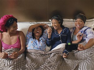 "Tiffany Haddish, left, Jada Pinkett Smithy, Regina Hall and Queen Latifah star in ""Girls Trip."""