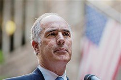 Sen. Bob Casey speaks during a press conference about healthcare at the Allegheny County Courthouse on July 21, 2017 Downtown.