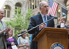 Sen. Bob Casey, D-Pa., speaks during a press conference about healthcare at the Allegheny County Courthouse, Downtown Pittsburgh on Friday.