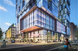 Artist renderings of the proposed luxury condos at the Downtown site of a parking garage on Ninth Street and Penn Avenue.