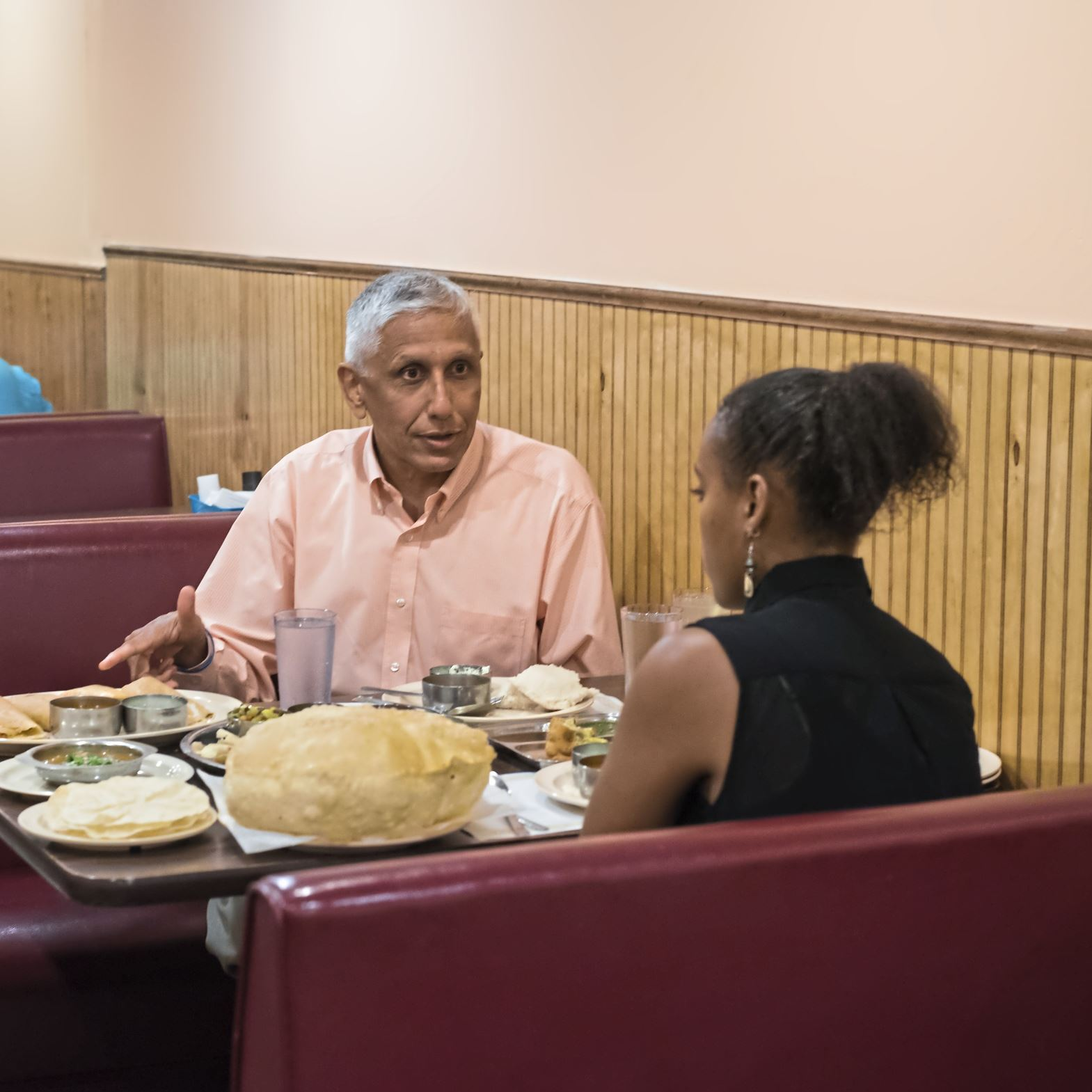 20170719smsEatWithHands09-8 Ganesh Viswanathan of Upper St. Clair talks to writer Fitale Wari about eating food with the hand.