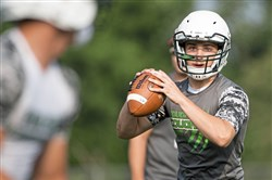 Yough's Jake Sever looks to throw during the Westmoreland County Coaches Association 7-on-7 tournament on Thursday, July 2017 at Greater Latrobe High School.