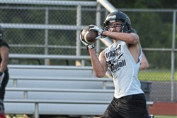 Albert Gallatin wide receiver Nate Bricker makes a catch during a summer practice at Albert Gallatin High School on July 19, 2017.