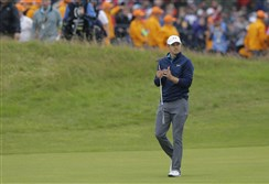 Jordan Spieth of the United States makes his way to the 18th green during the final round of the British Open Golf Championship, at Royal Birkdale in Southport, England, on Sunday, June 23, 2017.