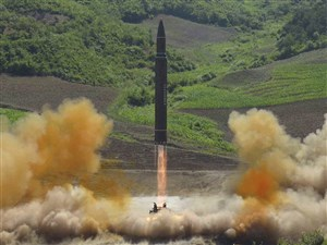 This July 4, 2017, file photo distributed by the North Korean government shows the launch of a Hwasong-14 intercontinental ballistic missile (ICBM) in North Korea.