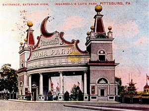 The entrance to Luna Park overlooked the corner of Craig Street and Atlantic Avenue (now Baum Boulevard) in North Oakland from 1905 to 1909. Luna was built to resemble a big, bright world's fair.