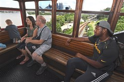 JuJu Smith-Schuster rides down the Duquesne Incline Monday.