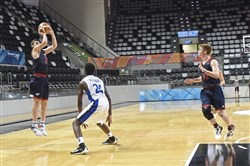 Jackson Blaufeld, a junior at Allderdice, puts up a shot against Israel in the championship game in Israel.