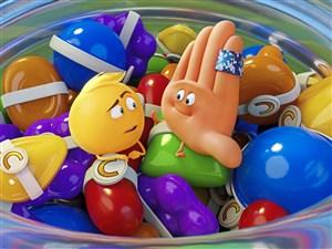 "Gene (T.J.Miller) and Hi-5 (James Corden) in ""The Emoji Movie."""