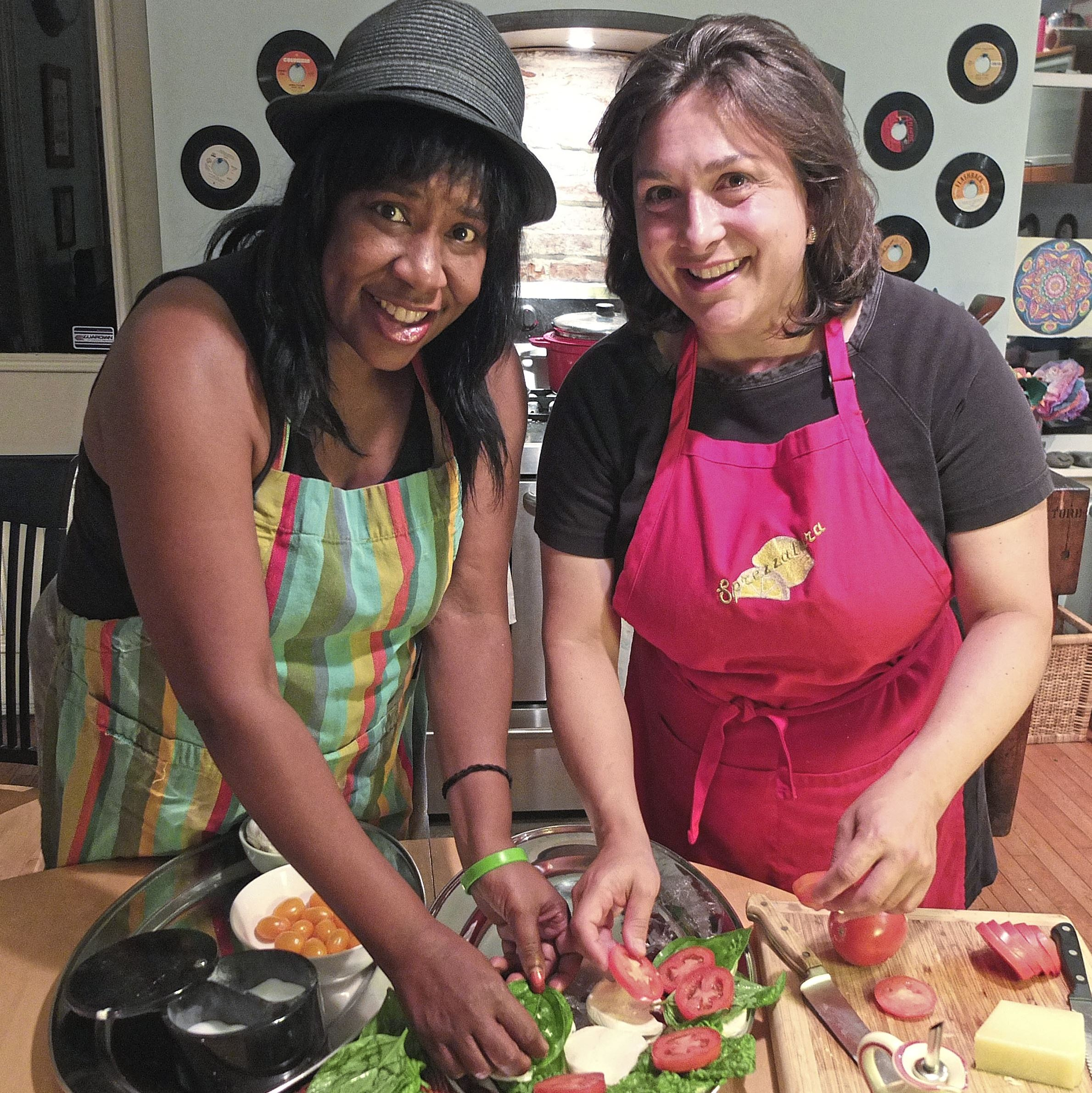Sprezzatura Monica Cwynar Jen Saffron Jen Saffron, right, a participant in First Course and owner of Sprezzatura catering, works on a caprese tray with Monica Cwynar. First Course is a new online tool for aspiring food entrepreneurs.