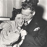 "Claudia Pinza and her father, Ezio Pinza in a 1947 photo. She is in costume after a performance of ""La Boheme"" in Philadelphia, in which she sang Mimi and her father was in the audience."