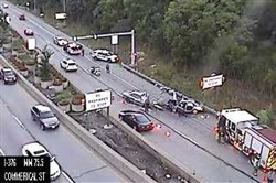 An image from PennDOT's traffic camera shows an accident on the outbound side of the Squirrel Hill Tunnels.