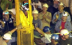The ninth and final miner is removed from the Quecreek Mine on July 28, 2002 in Somerset, Pa.