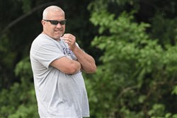 Western Beaver head coach Matt Grey during a practice at Western Beaver High School on July 26, 2017.