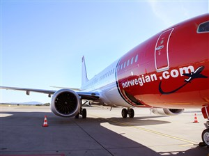 A Norwegian Air jetliner sits on a runway. The airline could offer flights from Pittsburgh to London.