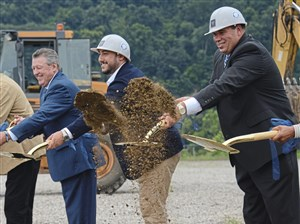 From left: State Sen. Jim Brewster, PurePenn CEO Gabe Perlow and McKeesport Mayor Mike Cherepko break ground at the PurePenn cannabis production facilities in McKeesport on Thursday.