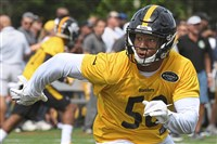 Ryan Shazier runs toward the ball during a July 29 practice at Steelers training camp.