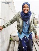 "Somali-American model Halima Aden wears American Eagle's new denim hijab in its Fall 2017 ad campaign. Models for the campaign were ""handpicked for their ability to break stereotypes."""