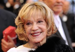 "This May 2008 file photo shows French actress Jeanne Moreau arriving at the screening of director Woody Allen's film ""Vicky Cristina Barcelona"" at the 61st Cannes International Film Festival in Cannes, Frances."