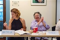 Denise Badoalto, of Springdale, laughs at a comment during the July 24 meeting of the Woman 2 Woman Toastmasters club in Squirrel Hill.