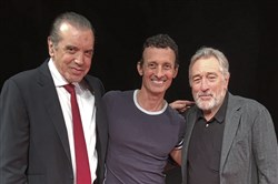 "From left, Chazz Palminteri, the writer of ""A Bronx Tale,"" actor and Pittsburgh native Ted Brunetti, who plays Frankie Coffeecake in the Broadway musical, and co-director Robert De Niro"