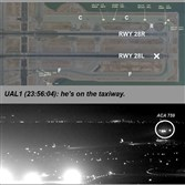 This composite of images released by the National Transportation Safety Board shows Air Canada flight 759 attempting to land at the San Francisco International Airport in San Francisco on July 7. At top is a map of the runway created from Harris Symphony OpsVue radar track data analysis. At center is from a transmission to air traffic control from a United Airlines airplane on the taxiway. The bottom image, taken from San Francisco International Airport video and annotated by source, shows the Air Canada plane flying just above a United Airlines flight waiting on the taxiway.